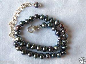 "Black & Gray Freshwater Seed Pearl & Sterling Silver Ankle Bracelet 8""-10"""