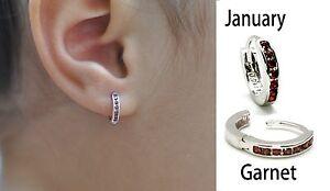 Baby's Hoop Earrings (New, Choose your Birthstone).925 Sterling Silver