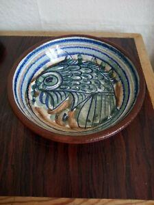 PORCHES ALGARVE EARTHENWARE STUDIO ART POTTERY PORTUGUESE SIGNED FISH BOWL.