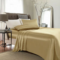 4 Piece Satin Silky Bed Sheet Set Full Queen King Super Soft Deep Pocket Golden