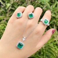 100% 925 Sterling Silver Emerald Gemstone Necklace Earrings Ring Jewelry Set