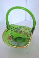 Vintage Glass Green Flower Applied Handle Basket Gold Trim
