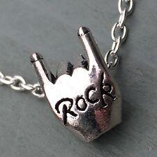 Rock Fist Tibetan silver Pendant ~ Devil Horns Rising Maloik Heavy Metal Biker