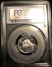 **1965 Large Bead DJ**,PCGS Graded Canadian,  Nickel 5 Cent, **MS-63**