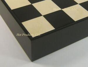 "16"" Black & Maple Wood Chess Storage Board Chest"