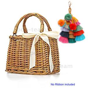 Woven Straw Bag Tote For Women Beach Handbag Basket Purse Summer Shoulder Bag
