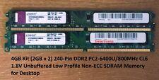 4GB Set (2GBx2) 240-PIN DDR2 PC2-6400U/800MHz CL6 Desktop DIMM For Dell, HP ...
