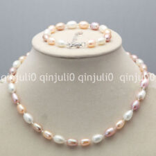 Real 7-8mm multi-color Natural Freshwater Rice Pearl Necklace Bracelet Set JN667