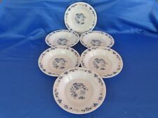 6 assiettes creuses ARCOPAL VINTAGE, modèle PRAIRIE fleurs bleues