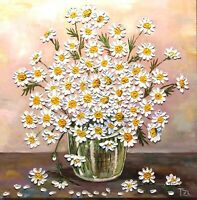 Daisies in a Vase Original Textured oil painting Floral still life 20 x 20 in