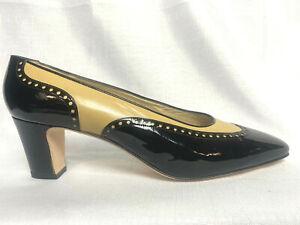 Silvia Fiorentina Black & Tan Patent Leather Spectator Pumps - Size 10M
