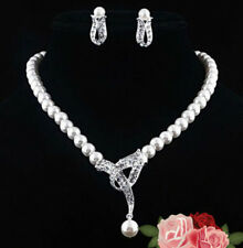 Pearl Necklace And Earring set With Diamante Detail Wedding Bridal/Prom Jewelry