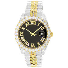 Stainless Steel Luxury Roman Solitaire Bezel Two Tone Gold Iced Out Analog Watch