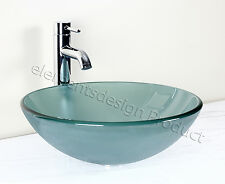 Bathroom Frosted Green  Glass Vessel Vanity Sink Chrome Faucet+ drain 12.2FC3