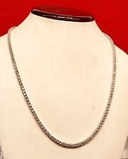 14K White Gold Over 925 - 20 Carat Round Cut VVS1/D Diamond Tennis 3mm Necklace