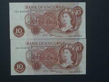 ***British** No.2  1967 Consecutive 10's Fforde 58Z  Crisp 'UN'  Banknotes ****
