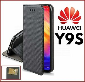 For HUAWEI Y9S FLIP CASE BOOK LUXURY BLACK COVER PU LEATHER WALLET STAND Y 9S