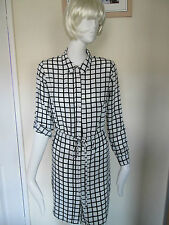 ATMOSPHERE - WHITE,BLACK CHECK SHIRT Dress Size 8 Uk Euro 36- 100% POLYESTER
