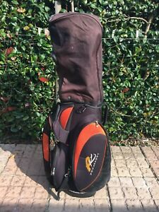POWAKADDY Golf Cart Bag BLACK/ORANGE 7 Way Divider
