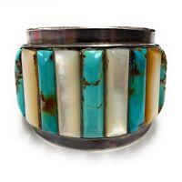 Vintage Navajo Sterling Silver Multi Stone Cornrow Wide Cuff Bracelet - Signed