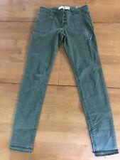 Hollister Olive Green Super Skinny Pants Jeans Frayed Hem Sz 3 / 26 W (GG#1544)