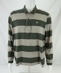 Lacoste Long Sleeve Polo Shirt Striped Gray & Green Men's Size 7