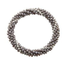 Grey glass rondelle stretch Bracelet with silver beads - Rae G06 Bello London