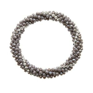 Womens Grey Stretch Bracelet with glass rondelle and silver beads - Rae G06