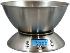 MyWeigh 5kg Kitchen Scales Stainless Steele with Bowl Timer Thermometer Silver
