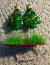 Dog Christmas hat Size M/L two green Christmas trees with stars