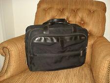 Hartmann Vintage Black Ballistic Nylon & Leather Expandable Briefcase Laptop Bag