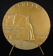 """Médaille L'Aiguille & les falaises d'Etretat cit Maupassant """"un éléphant énorme"""""""