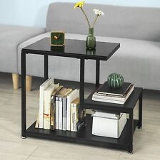 Black Side Table Glass Top 3 Storage Shelves Telephone Unit Magazine Book Rack