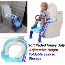 Childrens Toilet Seat Ladder Toddler Training Step Up For Kids Easy Fold Down UK