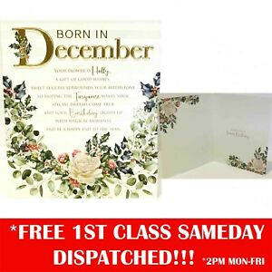 Women Born In December Birthday Greeting Card - 6 x 7 Inches - Cherry Orchard