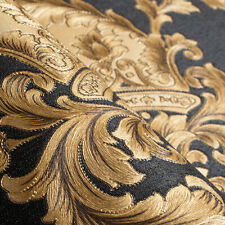 Luxus Geprägt Textur Tapete Hoch Klasse Schwarz Gold Ornament Washable Decor