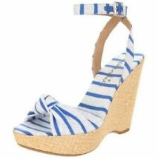SPLENDID Lustful STRIPED Espadrille WEDGE Sandals Shoe BLUE Fabric 9.5 9 1/2 M
