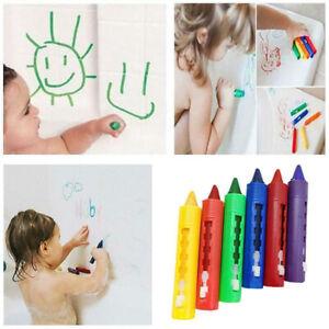 6Pcs Kids Baby Bath Time Paints Drawing Pens Toy Funny Washable Crayon Makeup AU