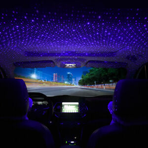 Blue LED Atmosphere Lamp USB Car Interior Roof Ambient Star Sky Light Projector