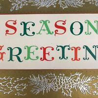Vintage Mid Century Christmas Greeting Card Season's Greetings Spell Out Gold