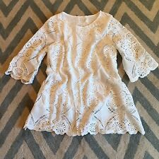 New ANTHROPOLOGIE White Eyelet Scalloped Lace Boho Tunic Top Blouse Medium