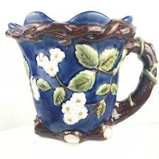 Pitcher Ceramic Vines Floral Design Branch Handle dark Blue Base 9 Inch High