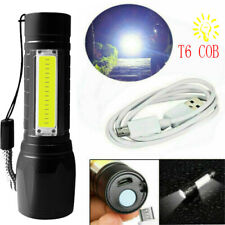 Flashlight COB Rechargeable 3-Mode USB Zoomable Lamp Torch Light Portable LED T6