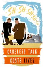 Careless Talk Costs Lives - Two Men - World War II - Propaganda Poster