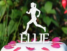 Personalised Female Runner Athletics Women Cross Country Running Cake Topper