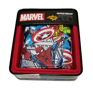 Mens Marvel Wallet Captain America Spiderman Hulk Trifold Collectible Tin NEW