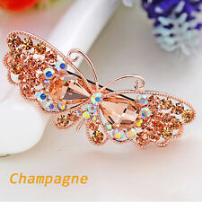 Fashion Women Crystal Rhinestone Butterfly Barrette Hair Clip Clamp Hairpin
