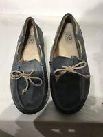 ugg australia Mens Blue Leather Driving Moccasin Shoes Uk 9 Ref Bo5
