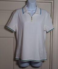 Women's Calloway Golf L Short Sleeve 1/4 Zipper White Polo Shirt
