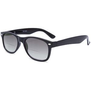 Bifocal Reading Glasses Finshing Gradient Sunglasses Vintage Eyeglasses +1.0~4.0
